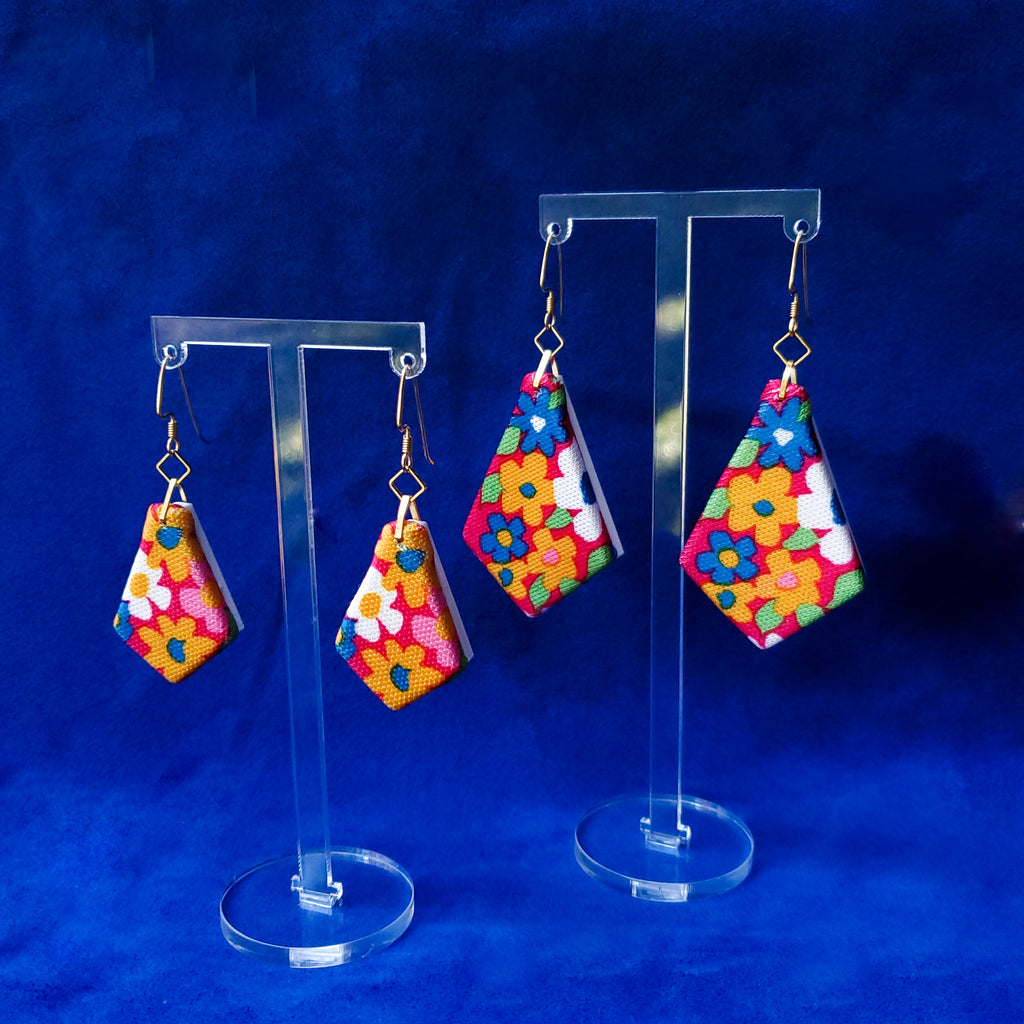 1970s Flower Power Sustainable Textile Earrings made from recycled clothing. Handmade by jewelry designer Anne Marie Beard in Austin, Texas.
