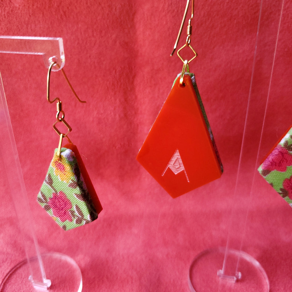 1950s Rose Print Sustainable Textile Earrings made from vintage fabric. Sustainable handmade by jewelry designer Anne Marie Beard in Austin, Texas.