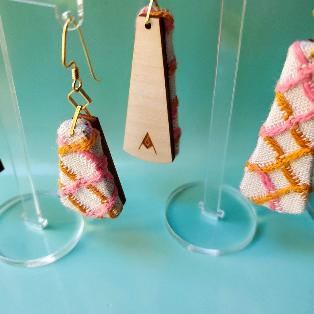 1960s Vintage Pink & Gold Textile Earrings made from recycled clothing. Handmade by jewelry designer Anne Marie Beard in Austin, Texas.
