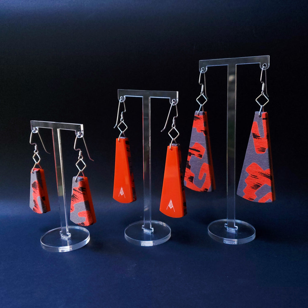 Vintage Pierre Cardin Textile Earrings made from recycled clothing. Handmade by jewelry designer Anne Marie Beard in Austin, Texas.