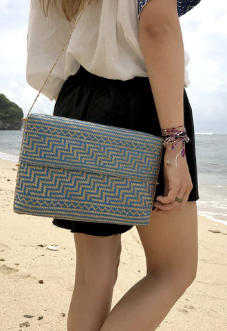 Tasbuku Bag - Medium - Ocean Blue - bamboo - marbaii