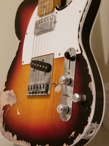 Relic Sunburst TL Modded Electric Guitar