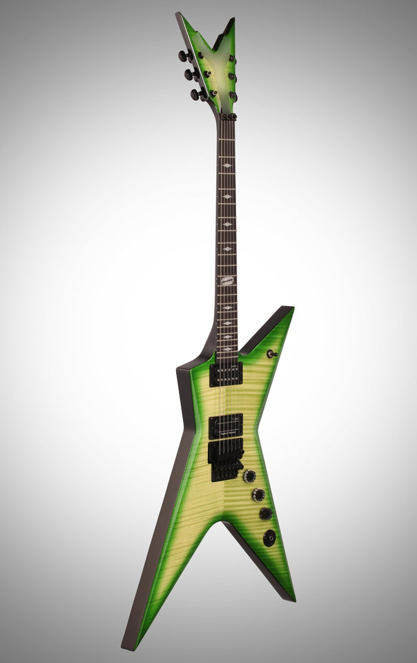 Green Dean Stealth Floyd Dimeslime Razorback Electric Guitar