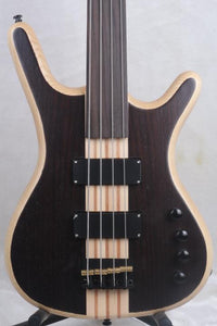 Fretless 4 String Bass Black and Gold Bass Guitar