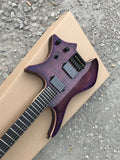 Grote Headless Electric Guitar with Veneer Koa Top Gloss Finish Purple Burst