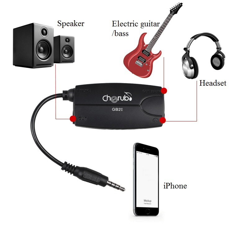 Cherub GB2i Electric Guitar or Bass to iPhone, iPad or iOS device adapter