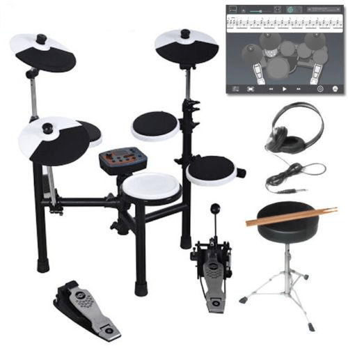 Hitman HD-3 Electronic Drumset - Full Drum Kit with Headphones, Throne & iOS App