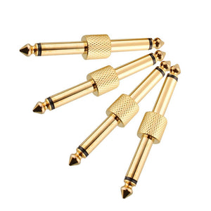 4 Piece 1/4th Guitar to Pedal Gold Connectors - Sunfield Music