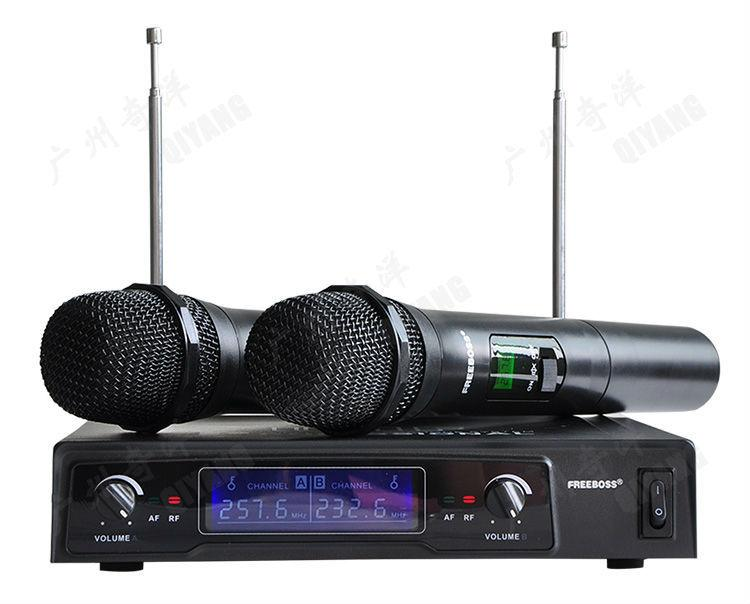 2 Freeboss KV-8500 Handheld Wireless Microphones + SMR6 Audio Mixer