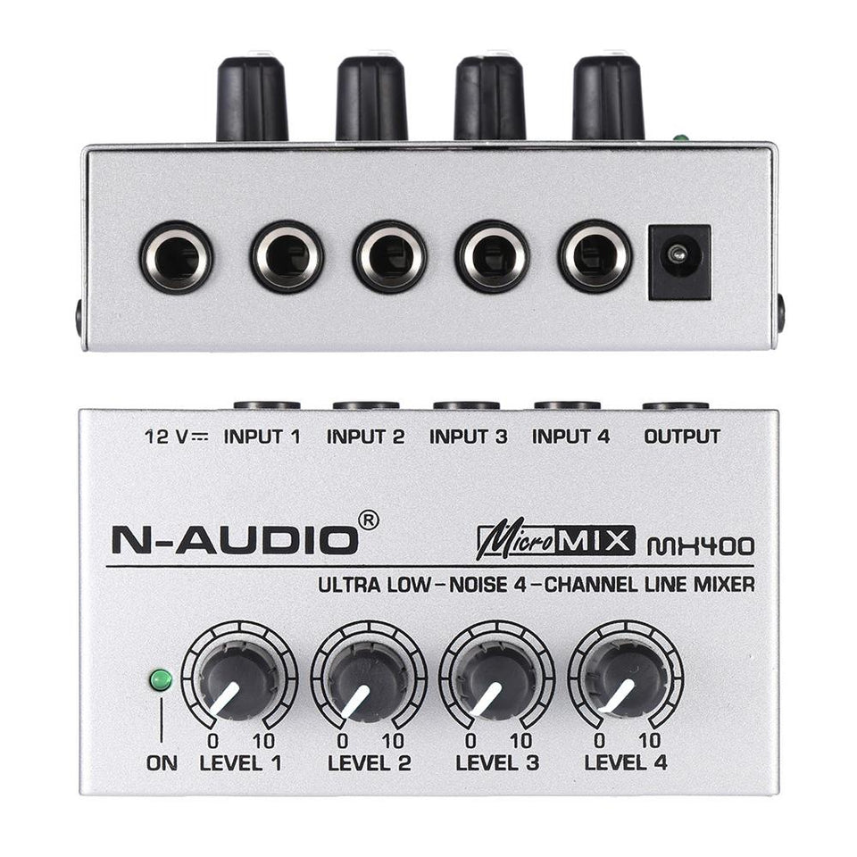 Mx400 Ultra Compact Low Noise 4 Channel Audio Mixer Sunfield Music Microphone