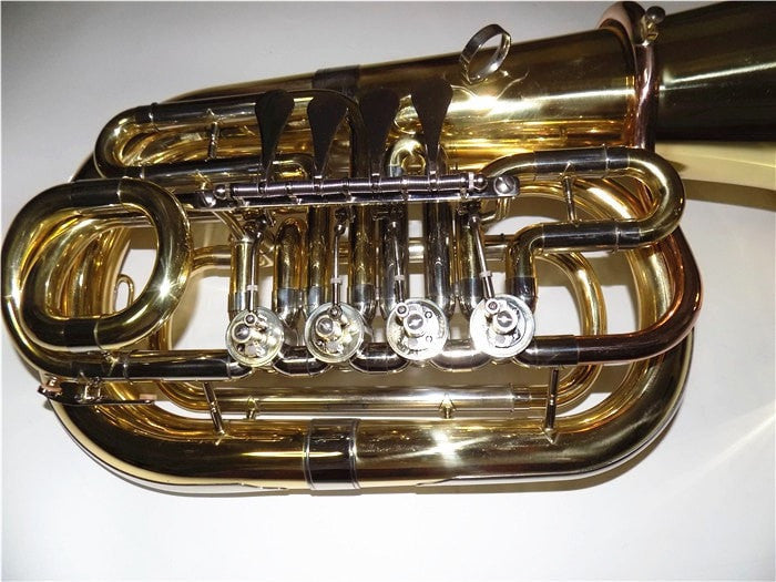 Bb Junior Tuba Four Valves Height 612mm Brass Body Lacquer with Foambody Case - Sunfield Music