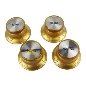 4pcs (2 Volume & 2 Tone) Bell Gold Brown Speed Knobs - Sunfield Music