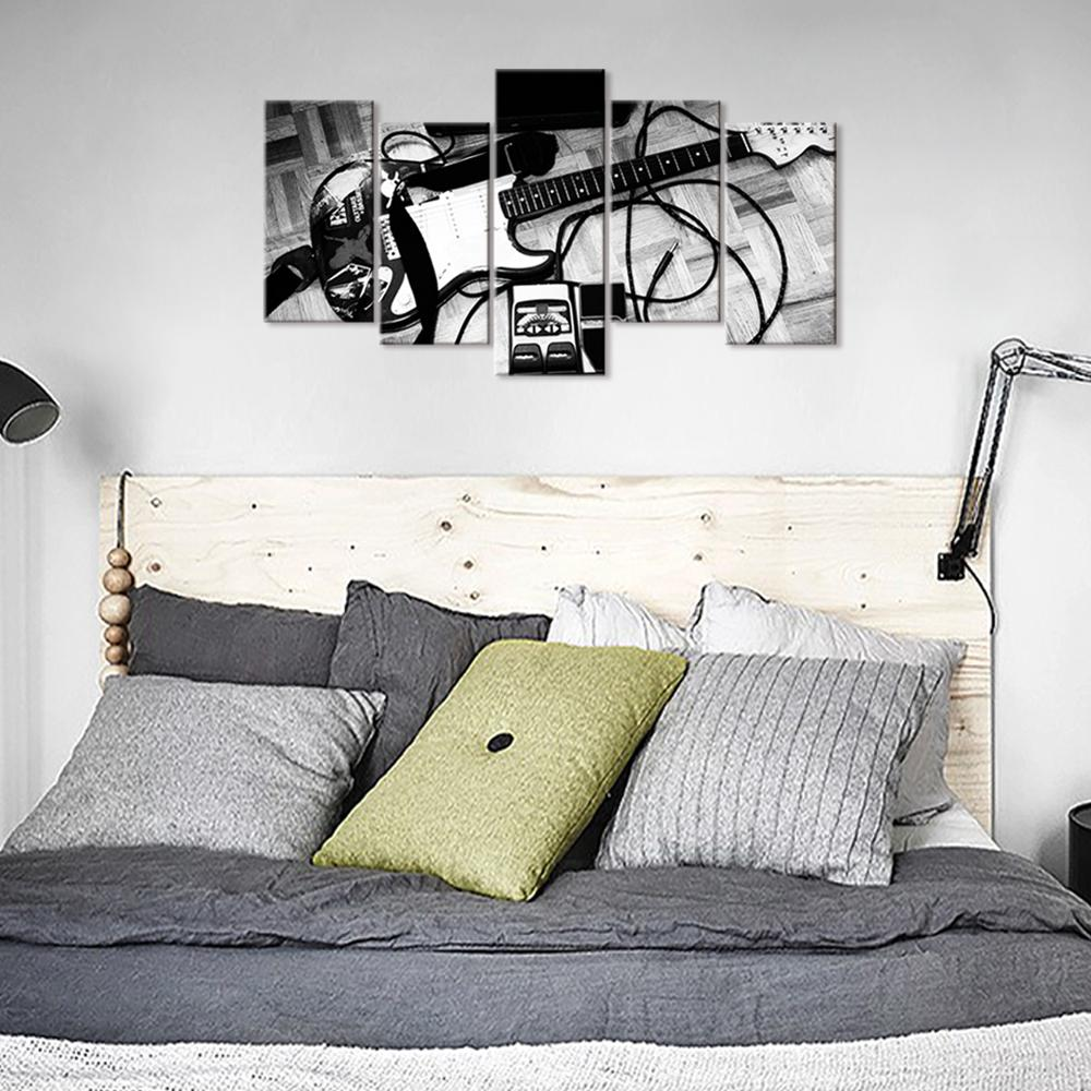 Black And White Guitar 5 Piece Canvas Art