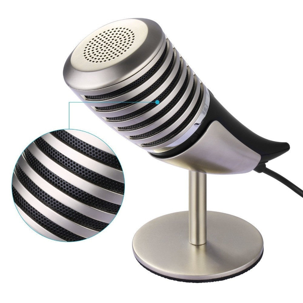 Horn Microphone + Metal Stand + Carry Case Plug-and-Play for Windows/Linux/Mac OS - Sunfield Music