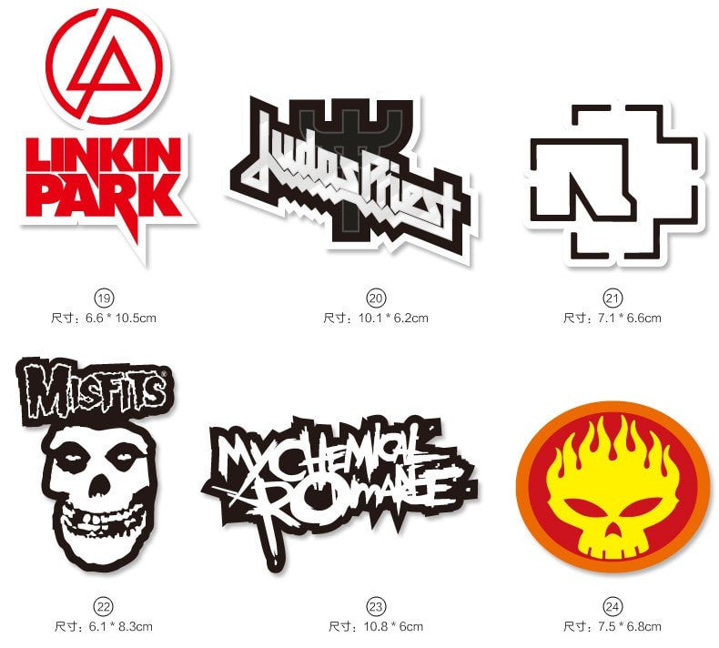 [52pcs/set] Big Tongue Rock Band Decals