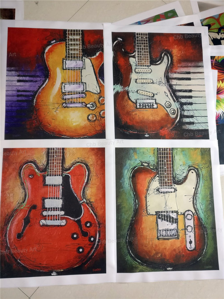 4 Piece Guitar Life Canvas Art