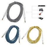 "10FT Bass Guitar 6.35mm 1/4"" Mono Male to Male Audio Cable Wire Braided Cord - Sunfield Music"