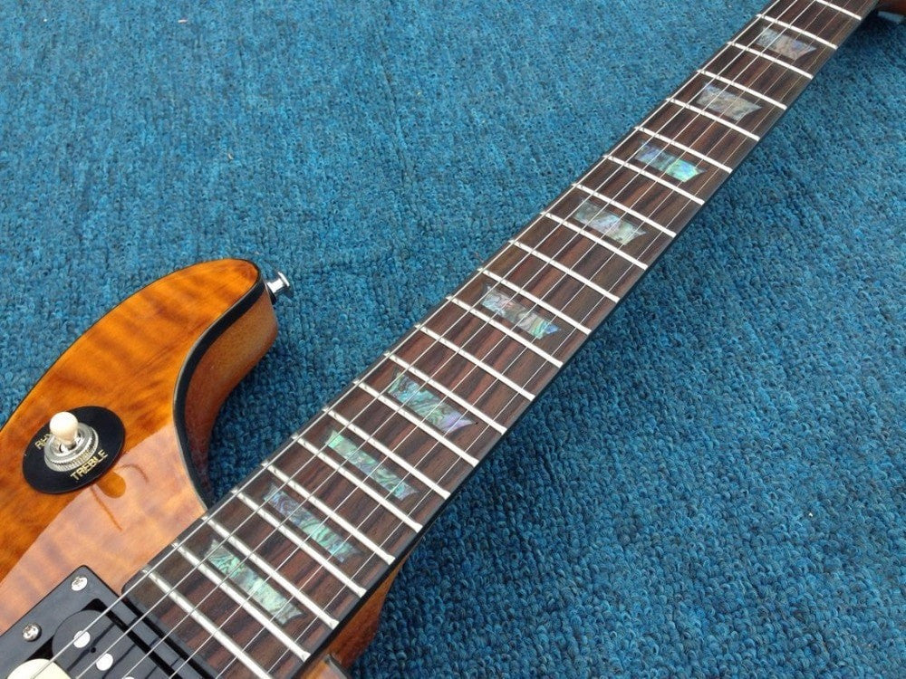 Abalone Inlay, Flamed maple top, black binding PSR Electric Guitar - Sunfield Music