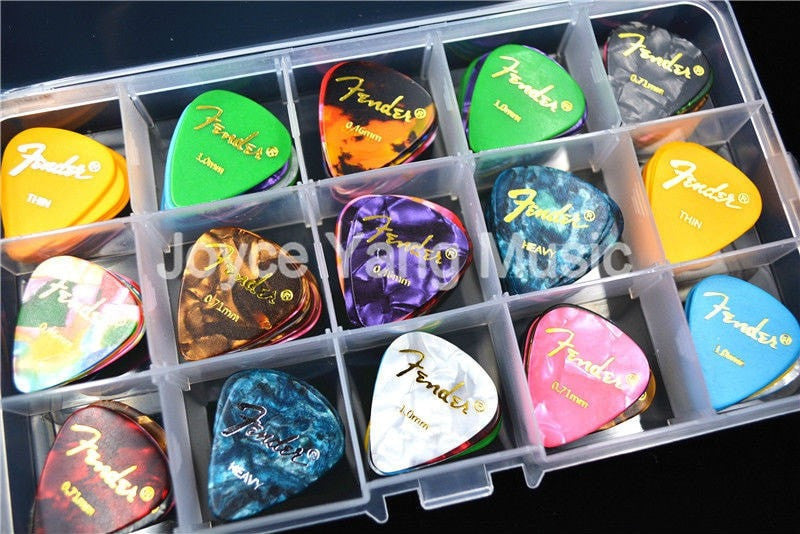 100pcs Pearl Celluloid Picks Plectrums with Large Plastic Case - Sunfield Music