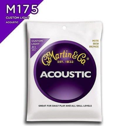 Martin M175 80/20 Bronze Custom Light Acoustic Guitar Strings, 011-052