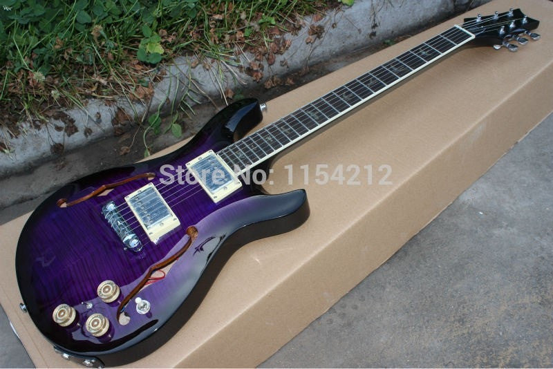 Custom Hollow F-Hole Purple PSR Electric Guitar