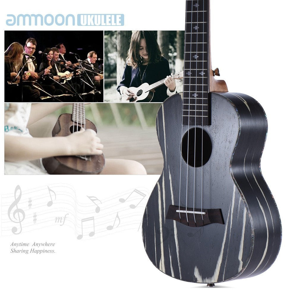"24"" Acoustic Soprano Ukulele 4 Strings 18 Frets with Wooden Okoume Neck and Rosewood Fretboard - Sunfield Music"