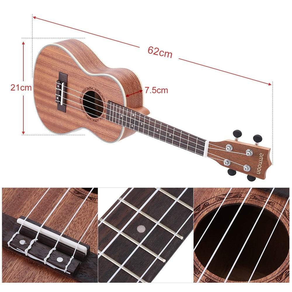 "24"" Sapele Ukulele 4 Strings with Rosewood Fretboard and White Brims - Sunfield Music"