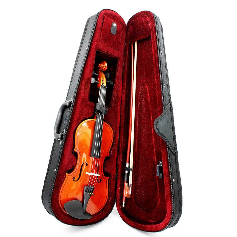 MENDINI SIZE 4/4 VIOLIN SOLIDWOOD NATURAL VARNISH+BOW+CASE