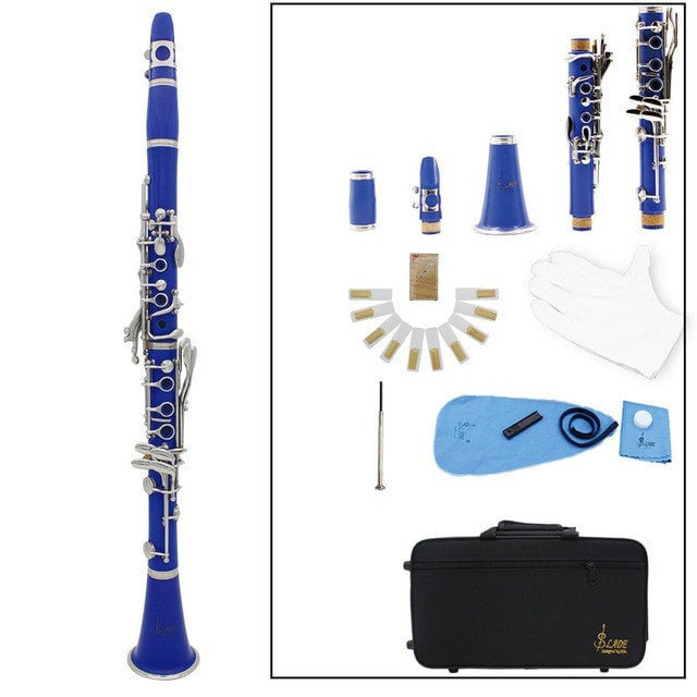 ABS 17 Key Clarinet bB Flat Soprano Clarinet with Cleaning Cloth + Gloves + Screwdriver + Reed Case - Sunfield Music