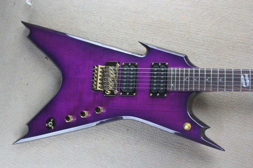 Dean Razorback Electric Guitar with Purple Flame Maple Top