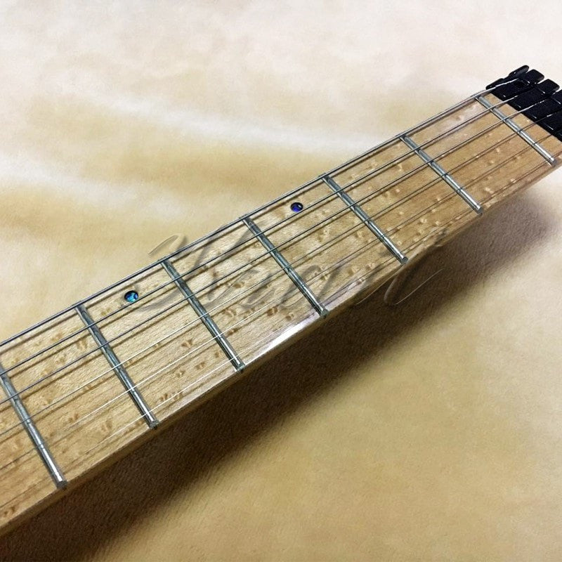 Headless Electric Guitar Fanned fret flocculent top Birds eye maple ash wood Custom - Sunfield Music