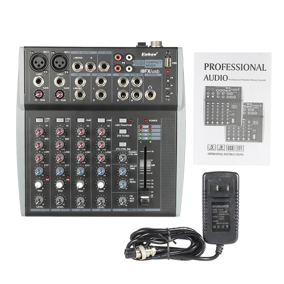 8 Channel 3-Band EQ Audio Mixing Console