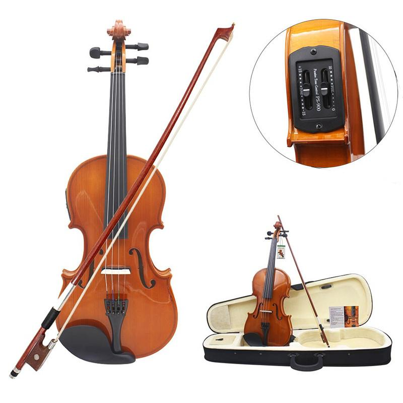 Zebra 4/4 Solid Electroacoustic Violin with Pickup Case & Accessories