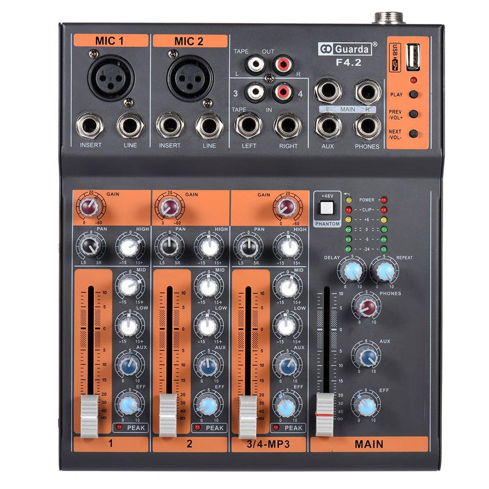 Portable 4-Channel Audio Mixing Console - 3-band EQ