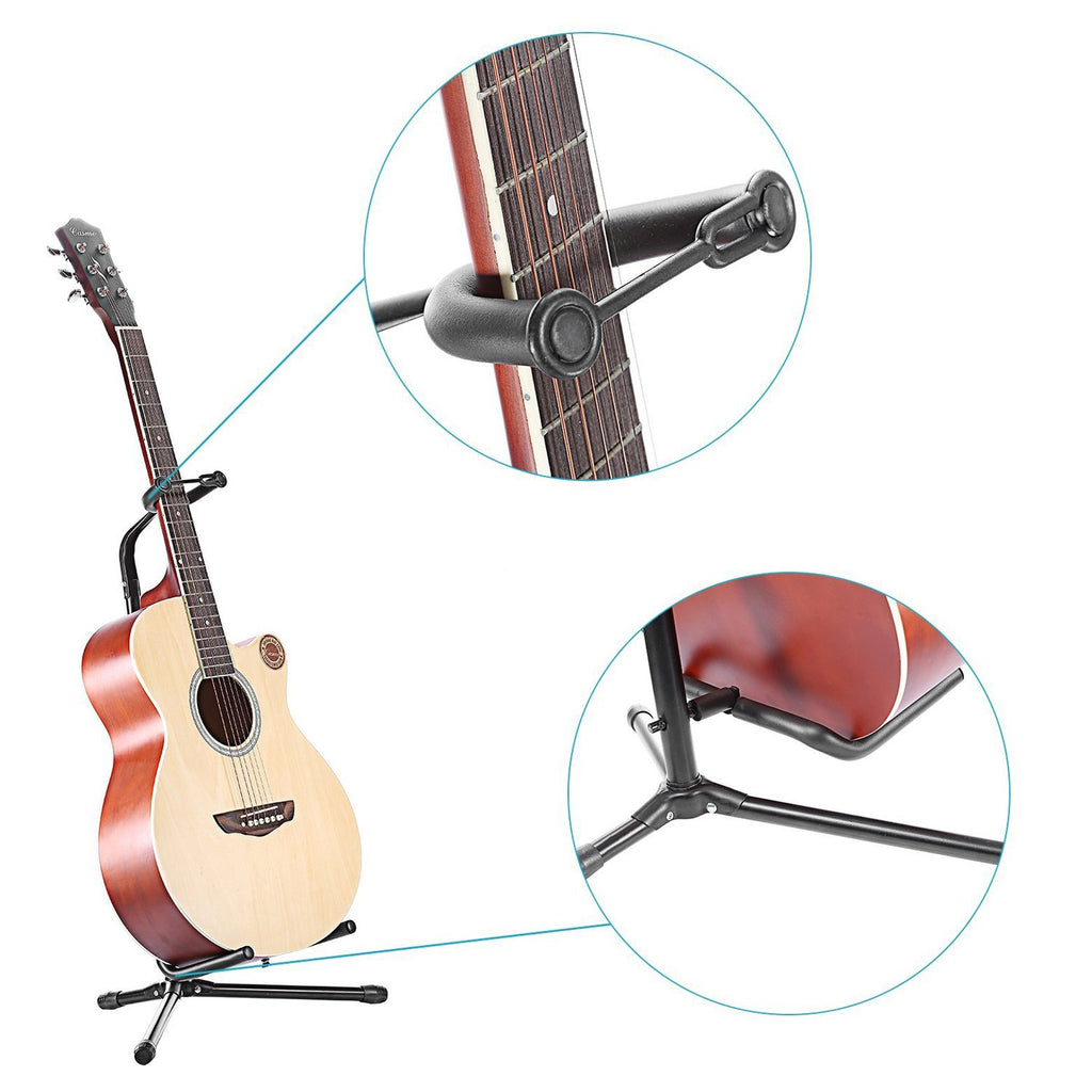 Tripod Guitar Stand with Protective Velveteen Rubber Padding