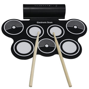 KONIX MD759 Portable Roll Up 7 Silicone Pad USB MIDI Electronic Drum Set w Sticks