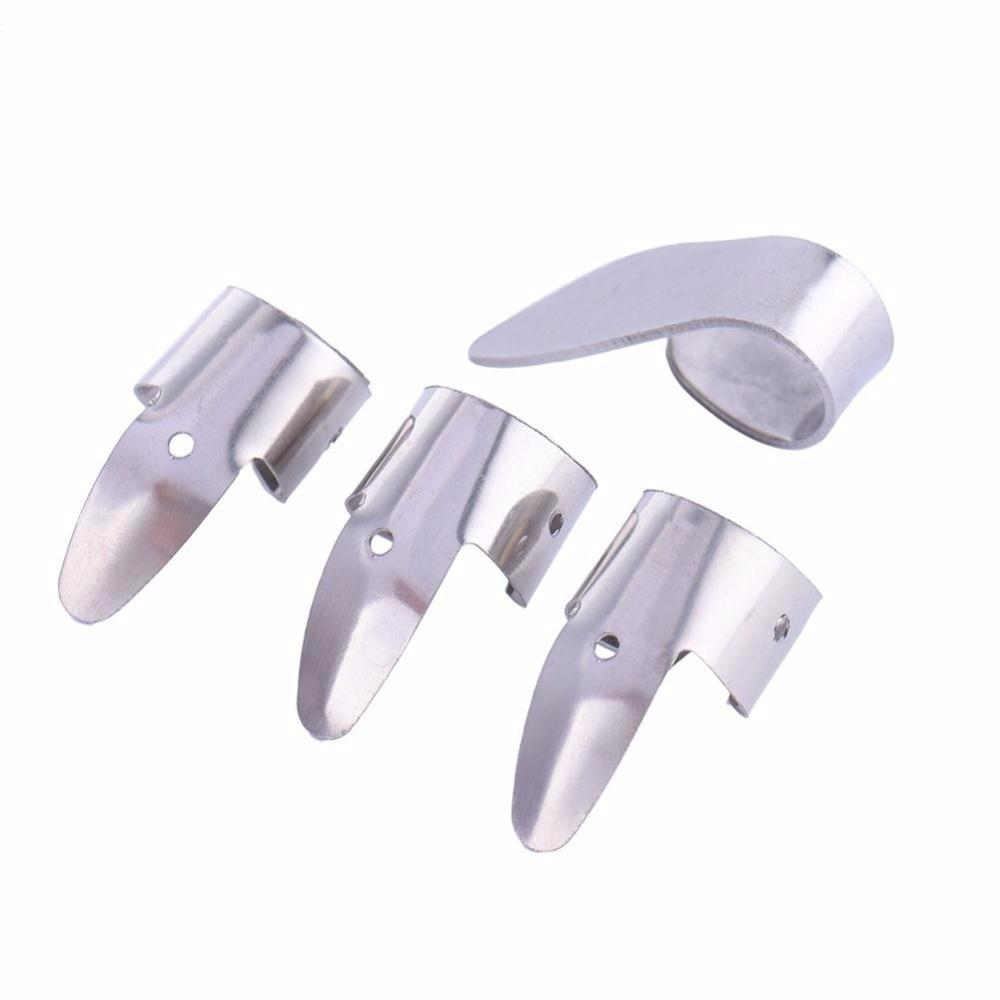 4Pcs Stainless Steel Silver - 1 Thumb And 3 Finger - Nail Guitar Pick set