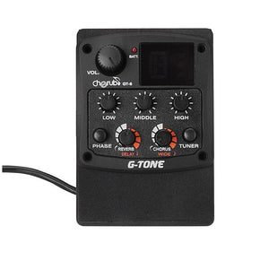 SYDS Cherub G-Tone GT-6 Acoustic Guitar Preamp Piezo Pickup 3-Band EQ Equalizer LCD Tuner with Reverb/Chorus Effects