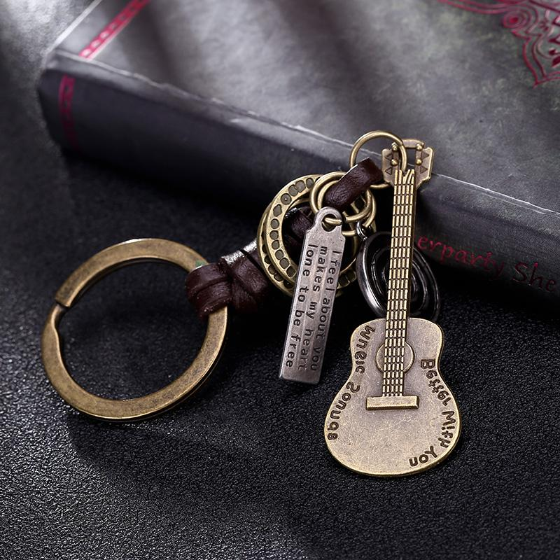 Genuine Leather and Brass Guitar Pendant Keychai