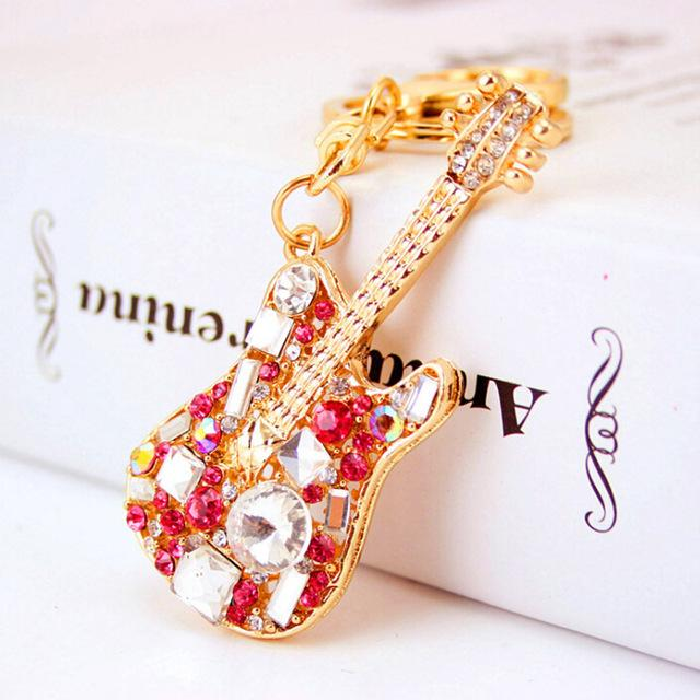 Ruby Rose Gold Guitar Keychain Pendant