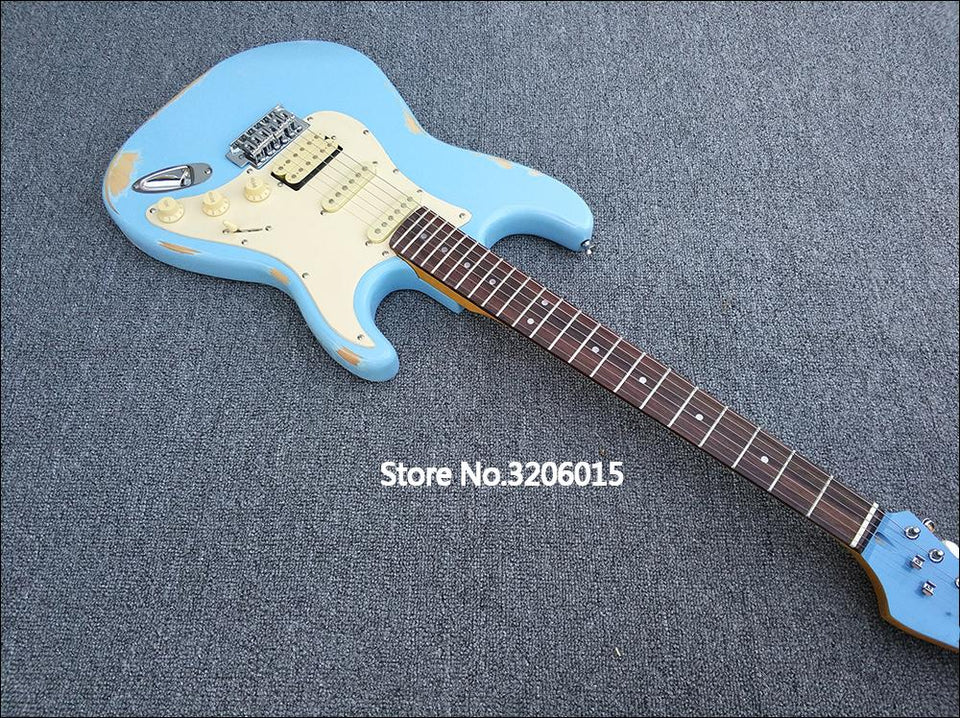Light Blue Galilee Relic ST Electric Guitar