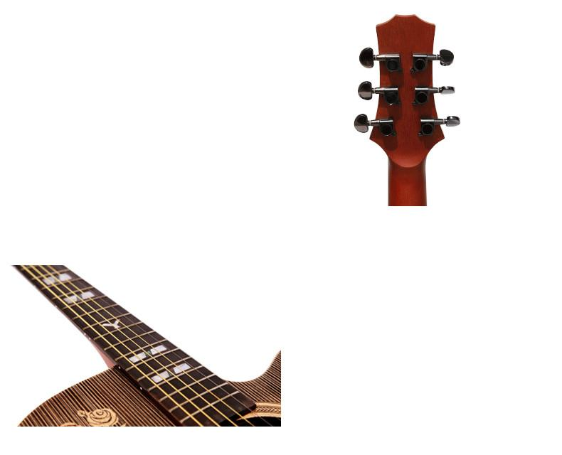 41inch Acoustic Guitar Handmade Rosewood Fingerboard Full Solid With Gig Bag/Capo/Strings/Picks/Belt