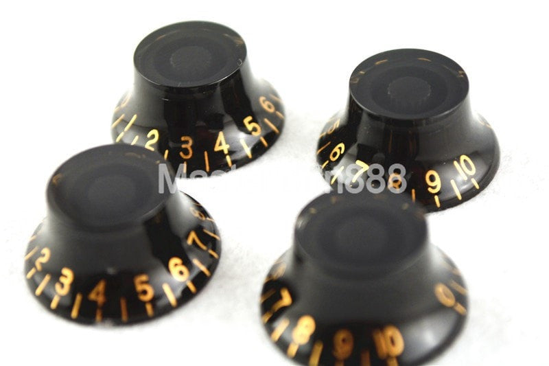 1 Set of 4pcs Black Gold Paint Electric Guitar Control Knobs - Sunfield Music