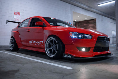 Battler Aero Mitsubishi Lancer Wide body kit fender flares modinfintie motorsports kansei wheels roku