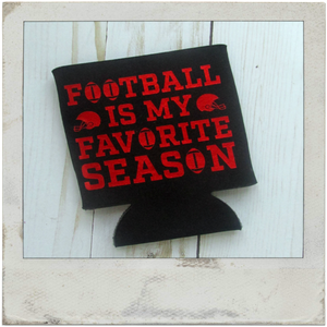 Football Is My Favorite Season Can Cozy - Red and Black