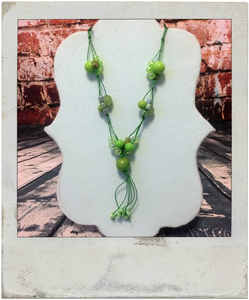 Bright Green Beaded Statement Necklace