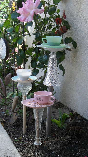 Glass and Teacup Bird Feeders