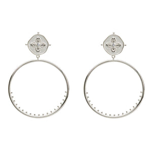 Sahara Decorated Large Hoops in Sterling Silver
