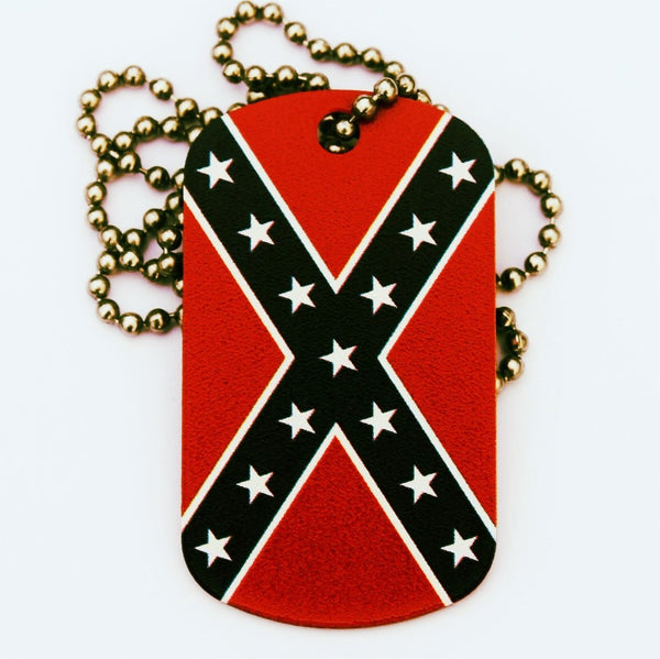 Rebel Flag Dog Tag Necklace