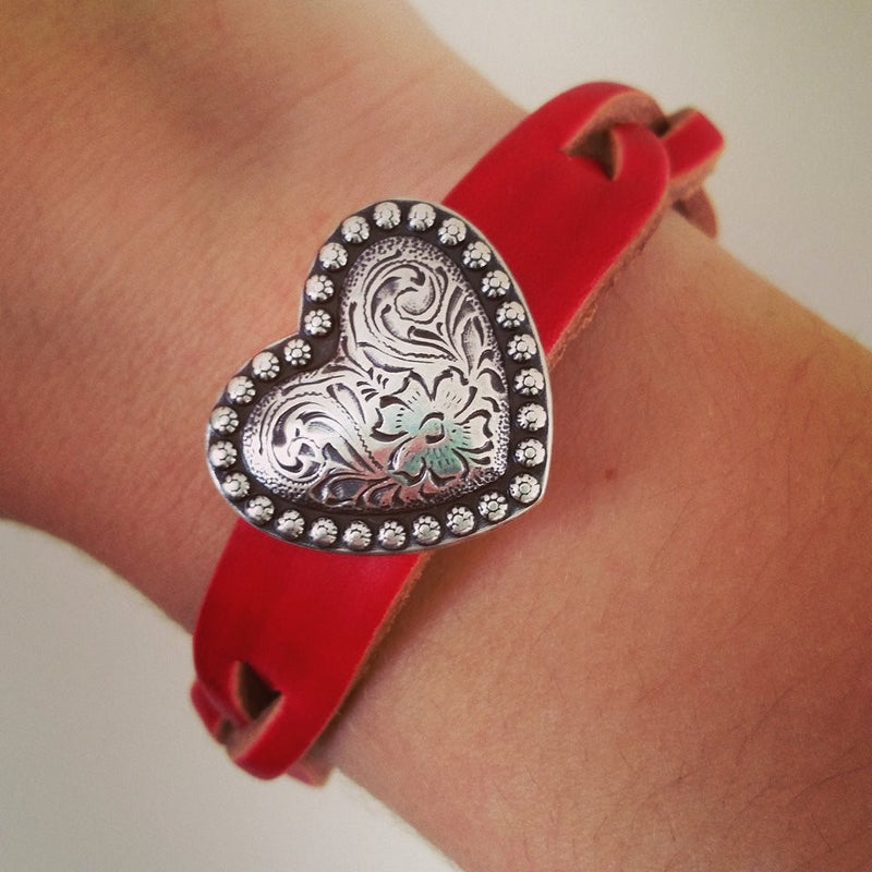 Red Braided Leather Bracelet with Silver Heart
